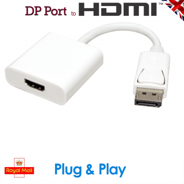 Display Port DP Male to HDMI Female Adapter White