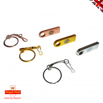 Powder Coated Metal USB 2.0 Flash Drive Memory Stick and Key Ring Clip