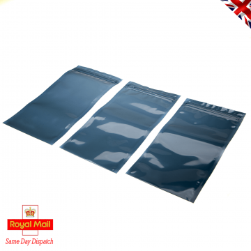 Click Seal Reusable Metallised Anti-Static Bags 200 mm x 100 mm Ideal for temporary safe storage, shipping. Protects delicate ESD Devices from Static Discharge Damage and Moisture. Flat Pouch, Metallised, Grey, 50% Transparent, Click Seal to Shortest Side. Bags can be Heat Sealed if Required for Extra Security