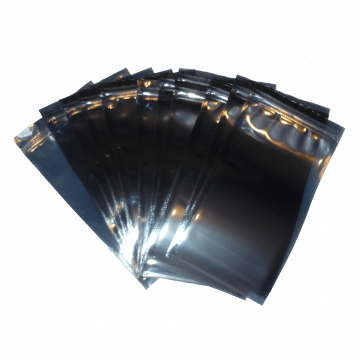 New Click Seal Reusable Metallised Anti-Static Bags ideal for temporary safe storage or shipping, protects delicate ESD Devices from Static Discharge Damage and Moisture. Flat Pouch, Metallised, Grey, 50% Transparent, Click Seal to Shortest Side. Bags can be Heat Sealed if Required for Extra Security.