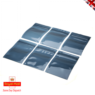 Click Seal Reusable Metallised Anti-Static Bags 70 mm x 100 mm Ideal for temporary safe storage, shipping. Protects delicate ESD Devices from Static Discharge Damage and Moisture. Flat Pouch, Metallised, Grey, 50% Transparent, Click Seal to Shortest Side. Bags can be Heat Sealed if Required for Extra Security
